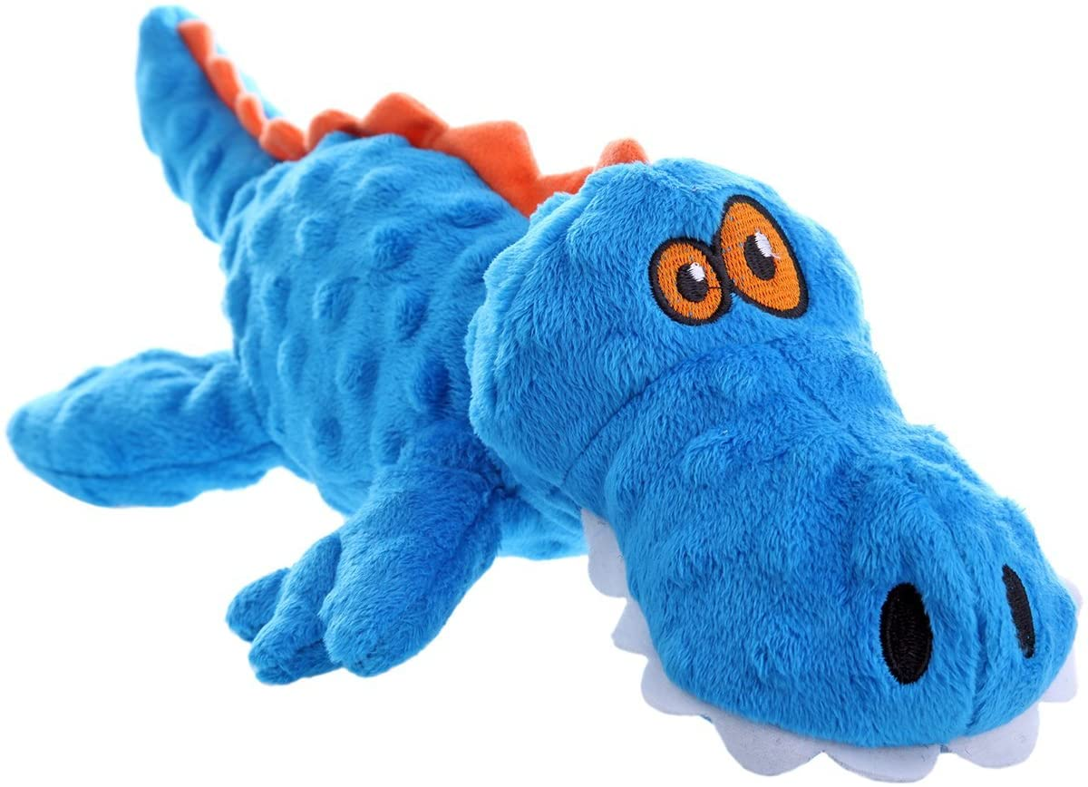 GoDog Gators (With Chew Guard Technology) Plush Squeaker Dog Toy Blue.